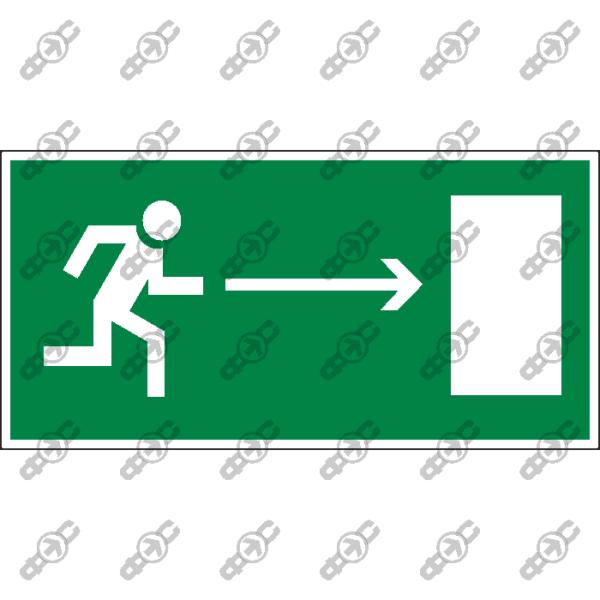 Знак E03 - направление к эвакуационному выходу направо