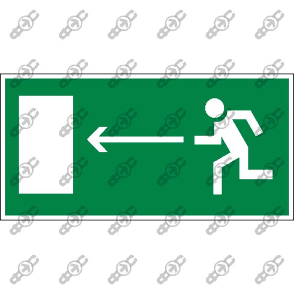Знак E04 - направление к эвакуационному выходу налево