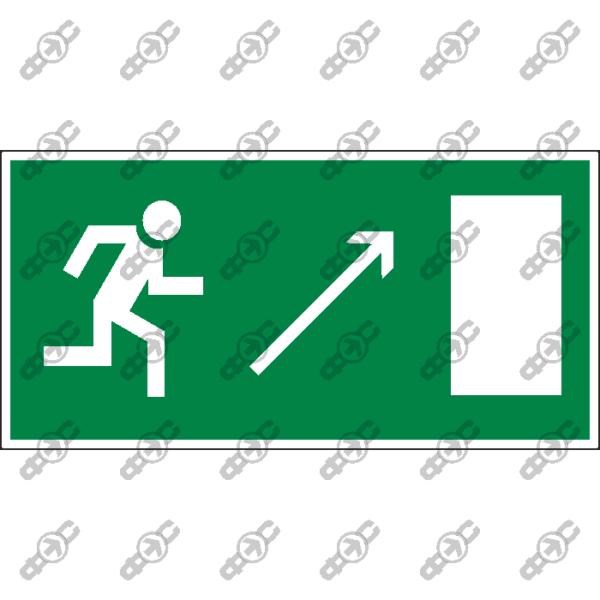 Знак E05 - направление к эвакуационному выходу направо вверх