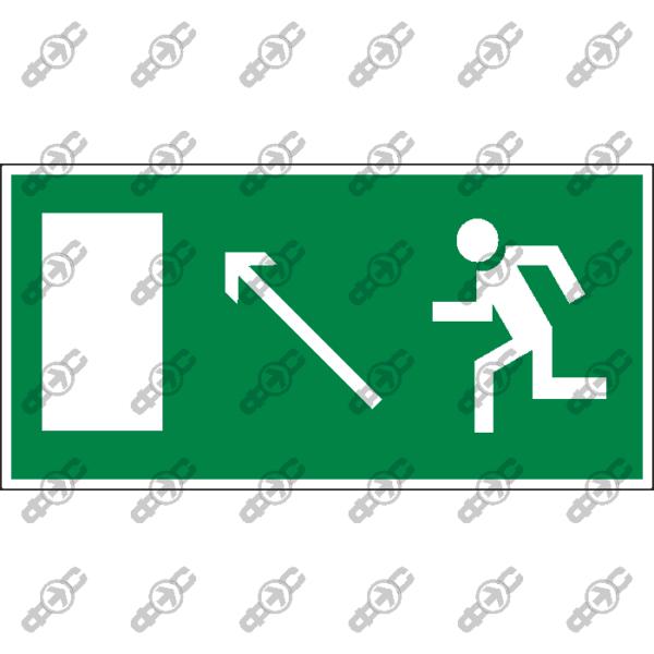 Знак E06 - направление к эвакуационному выходу налево вверх