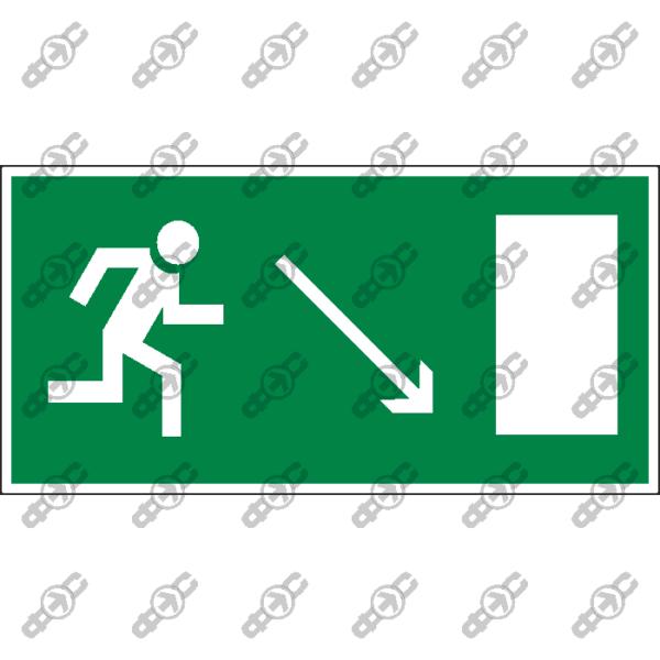 Знак E07 - направление к эвакуационному выходу направо вниз