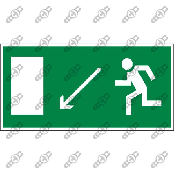 Знак E08 - направление к эвакуационному выходу налево вниз