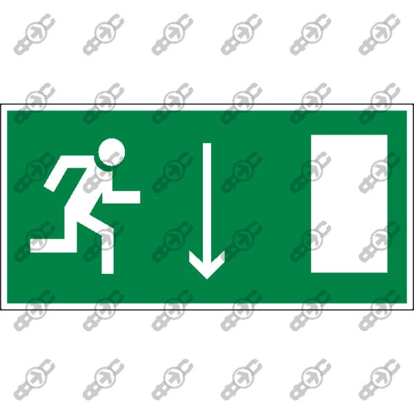 Знак E09 - указатель двери эвакуационного выхода (правосторонний)