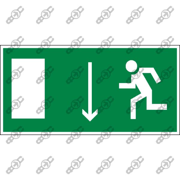Знак E10 - указатель двери эвакуационного выхода (левосторонний)