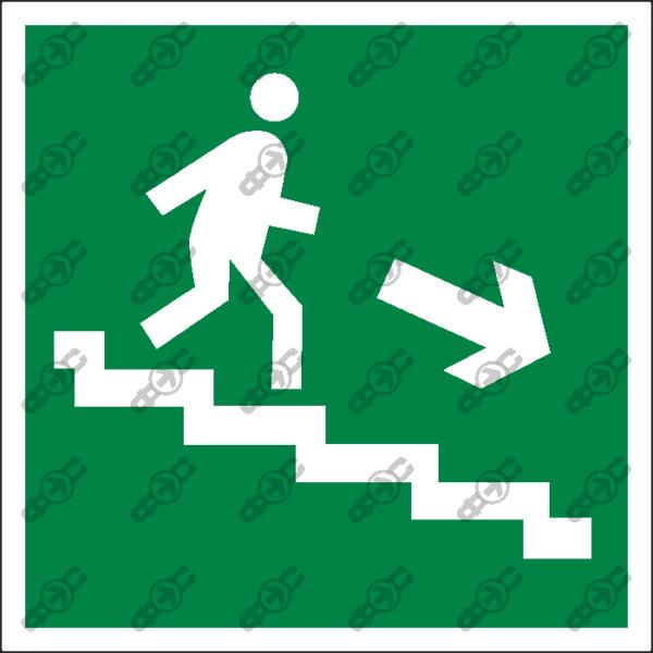 Знак E13 - направление к эвакуационному выходу по лестнице вниз