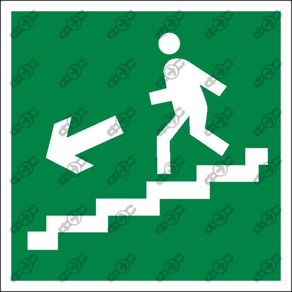 Знак E14 - направление к эвакуационному выходу по лестнице вниз