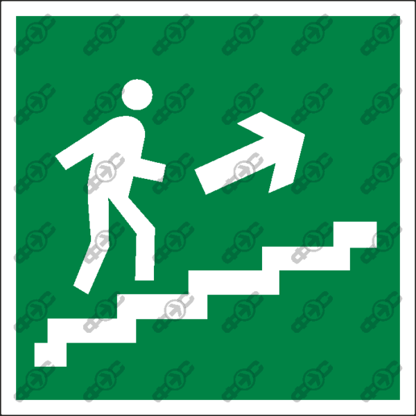 Знак E15 - направление к эвакуационному выходу по лестнице вверх