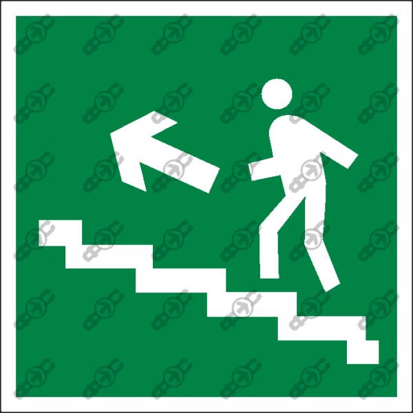 Знак E16 - направление к эвакуационному выходу по лестнице вверх