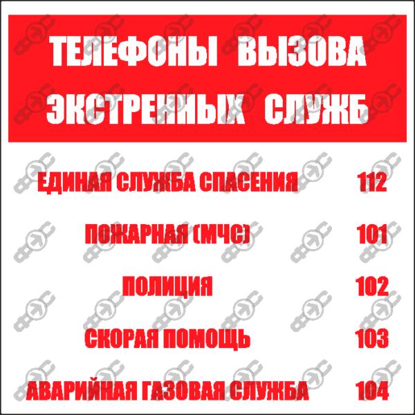 Знак F23 - Телефоны вызова экстренных служб