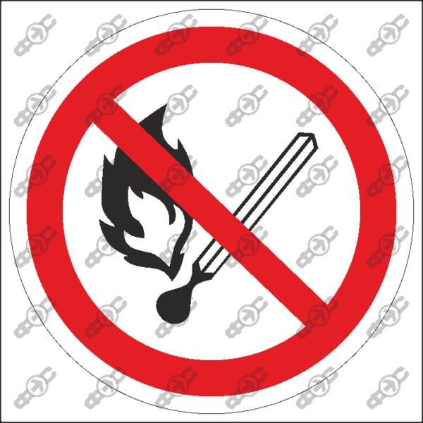 Знак P02 — Запрещается пользоваться открытым огнем и курить