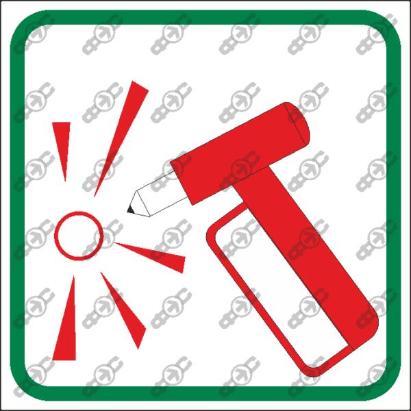 Знак T10 — Разбить стекло здесь