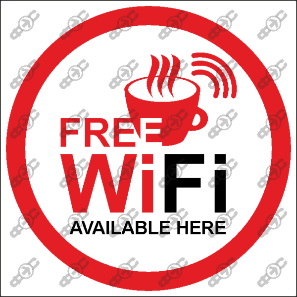 Знак WF21 — Free Wi-Fi. Available here.